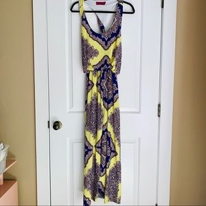 Sleeveless Paisley Maxi Dress Twist Back Size 10
